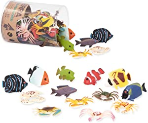 Terra by Battat – Tropical Fish World – Assorted Miniature Sea Animals, Toy Fish, & Tropical Fish Toys. Ideal Cake Toppers for Toddlers 3 & Up (60 Pc), Multicolor