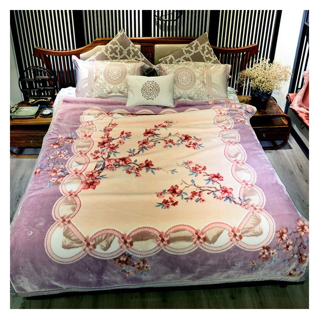 毛布を投げるラッセル柔らかくふわふわした厚い暖かい中国スタイルの桃の花柄の毛布200 * 230センチメートル B07J39CRC7