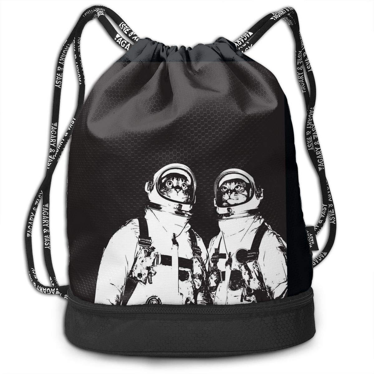 Drawstring Backpack Astronaut Cat Rucksack