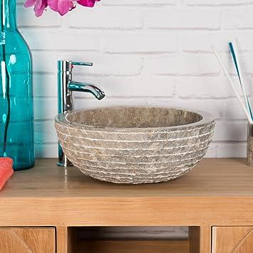 wanda collection Vasque en Pierre de Salle de Bain VESUVE Gris Taupe 40cm