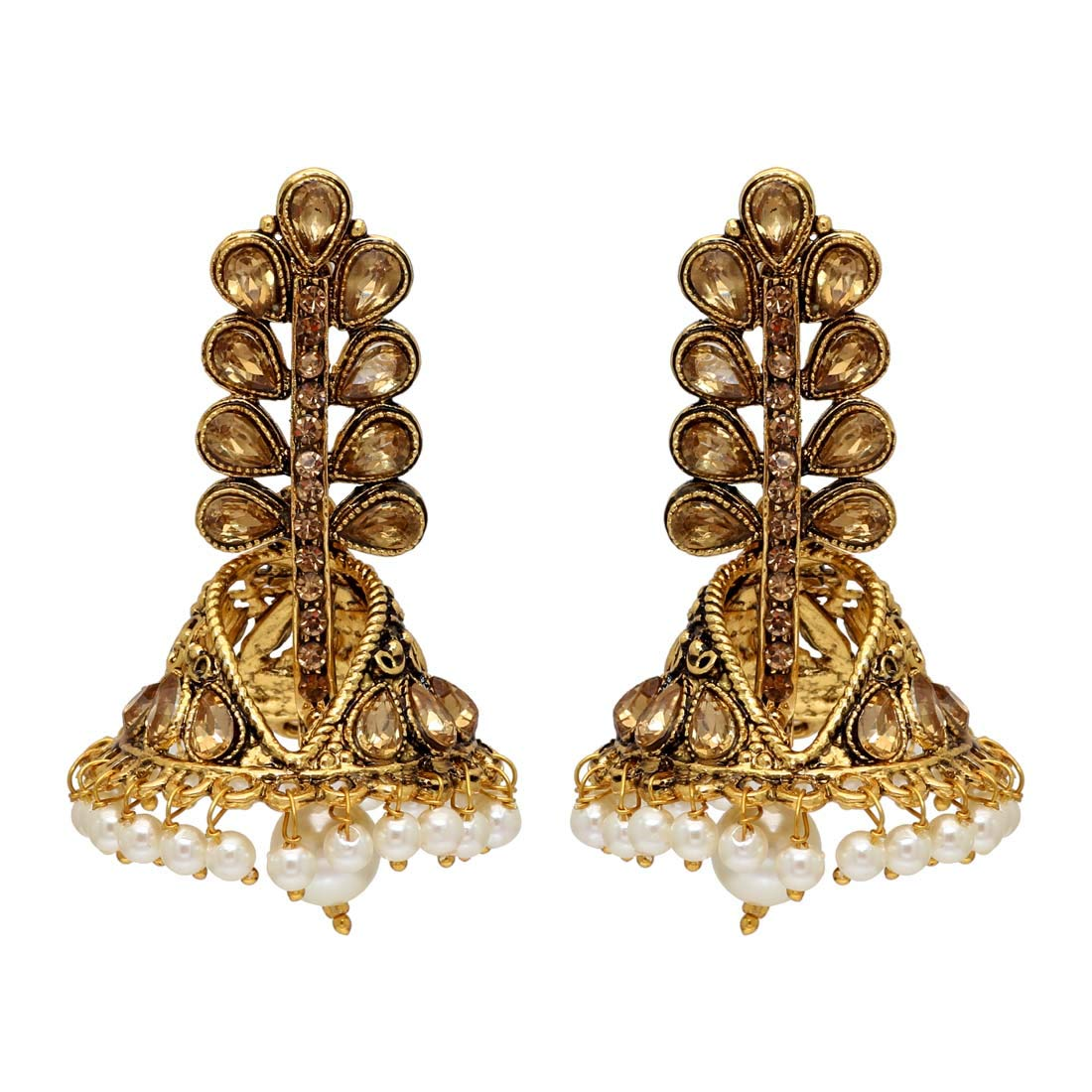 ANTE62GLD Jaipur Mart Alloy Metal Kundan Earrings For Women//Girls