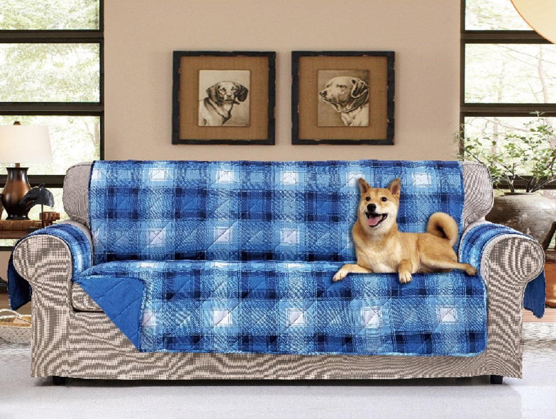 "American Home Reversible Slipcover Furniture Protector with Removable Elastic Strap - Protection from Soils, Spills, Stains and Pets - Plaid Collection (Sofa (124"" x 70""), Lake Placid (Blue))"