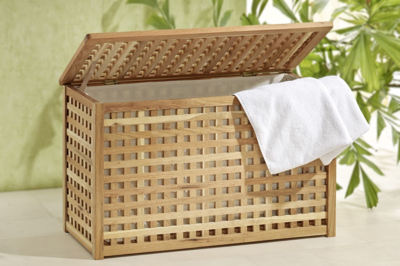 Merschbrock Trade GmbH Wäschetruhe, extra breit, Gitterdesign, Walnussholz