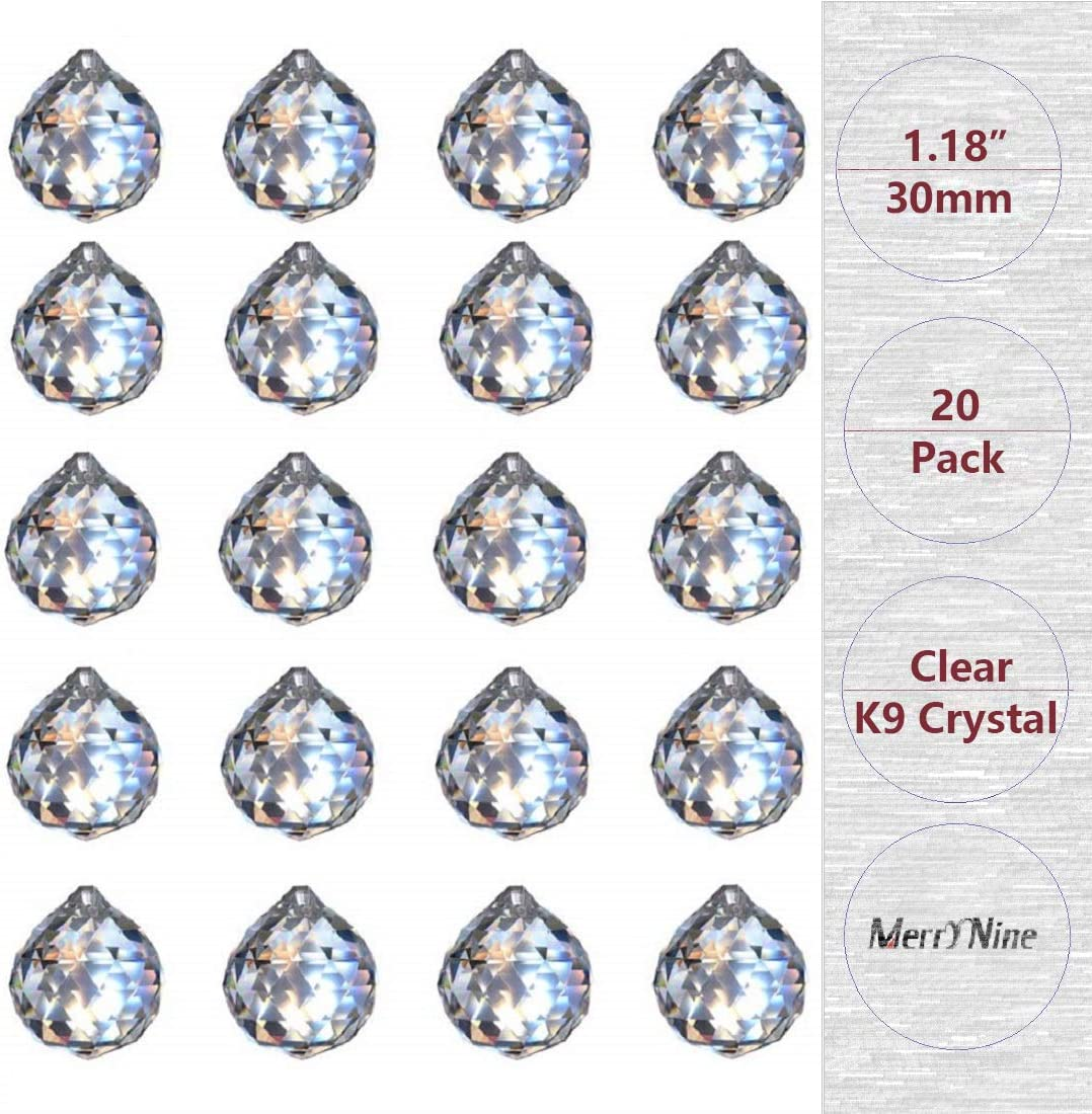 """MerryNine Clear Crystal Ball Prism Suncatcher Rainbow Pendants Maker, Hanging Crystals Prisms for Windows, for Feng Shui, for Gift(30mm/1.18"""" 20pack): Kitchen & Dining"""