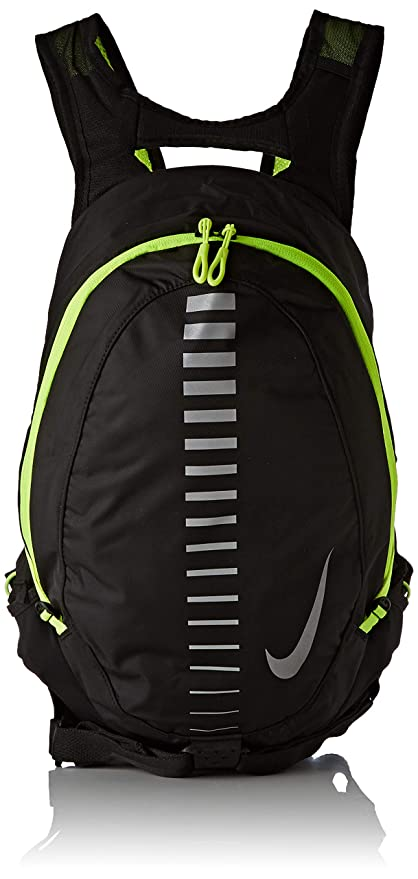 code promo d7bc6 2d7b5 Nike Course Running Backpack for Men and Women in Black and Volt Green