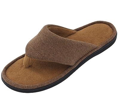 3261dc0cdc99d7 RockDove Men s Open Toe Slipper with Memory Foam Chestnut Brown