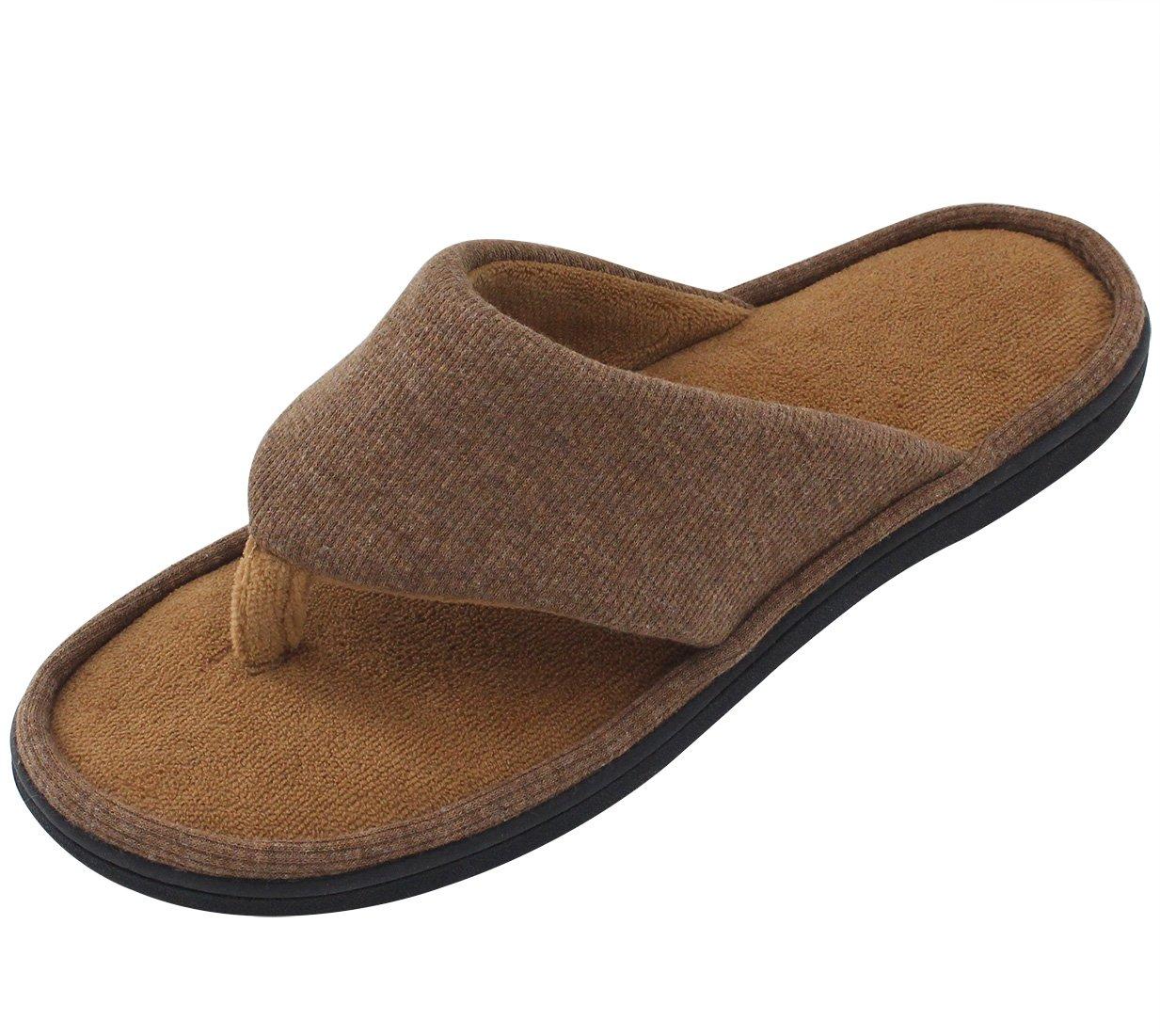 RockDove Memory Foam Men's Flip Flop House Slippers, Spring Summer Open Toe Thong Sandals w/ Indoor Outdoor Shoe Sole, Chestnut Brown, 11-12 D(M) US