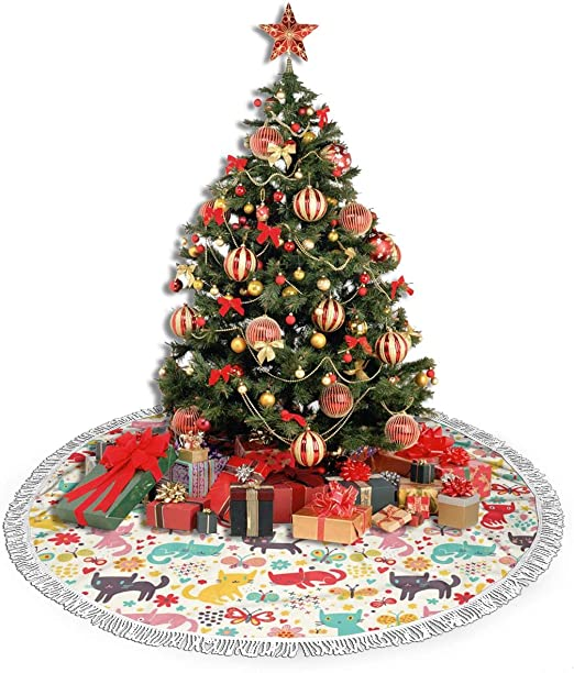 Amazon Com Hzwmkj Funny Cartoon Cats Christmas Tree Skirt 36 Inches Round Tassels Tree Skirt For Xmas Party Holiday Wedding Decoration Home Kitchen How to draw cartoons step by step for the christmas holidays and winter season by mei yu, a canadian artist. amazon com
