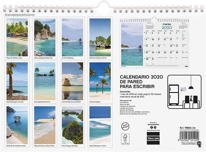 Calendario da parete 2020 immagini 30 x 30 paesaggi paradisi spagnoli Finocam