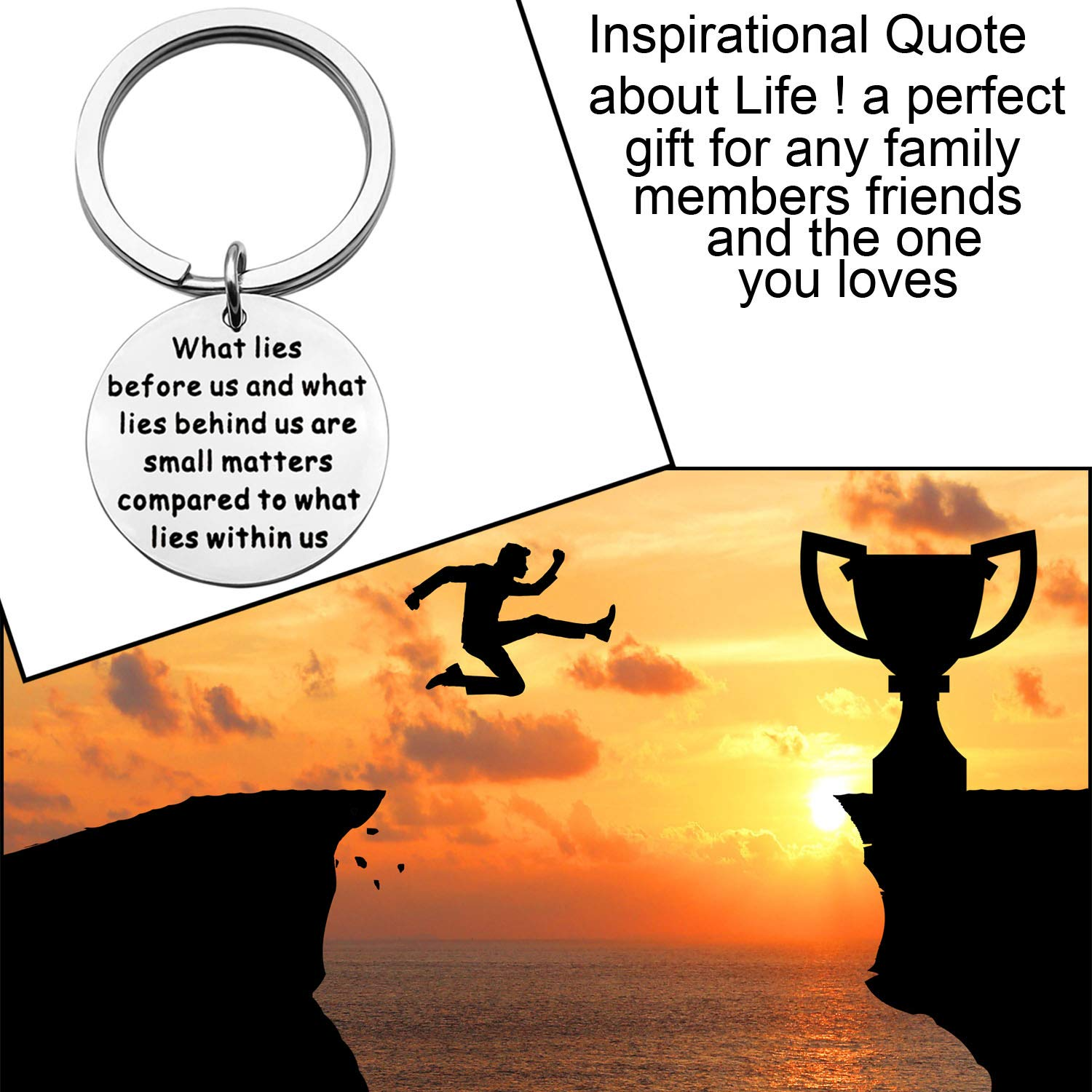 BNQL Ralph Waldo Emerson Quote Keychain What Lies Before us and What Lies Behind us Inspirational Keyring