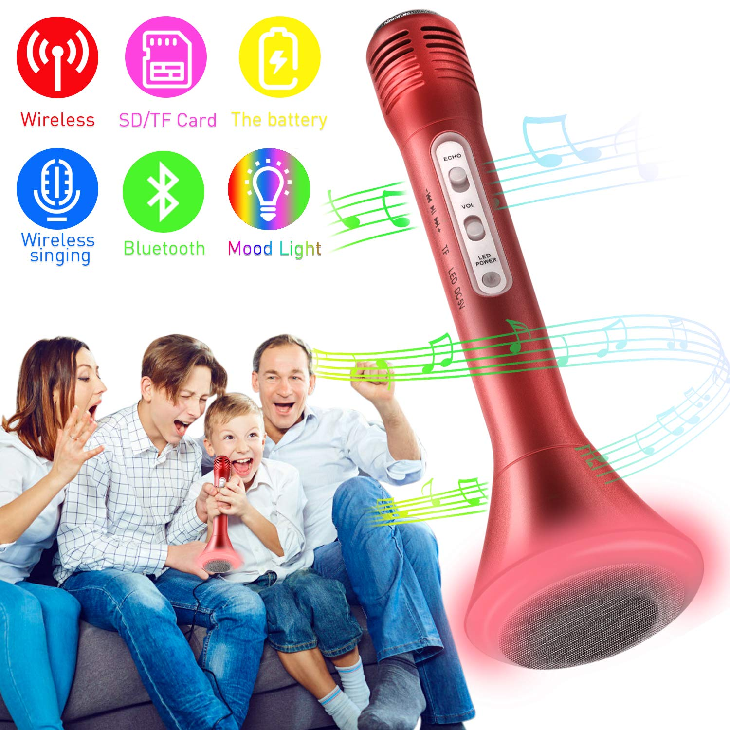 Microphone for Kids, Wireless Bluetooth Microphone with Bluetooth Speaker and Multi-color LED Lights Handheld Singing Machine Girls Boys Birthday Gift Compatible with PC/iPad/iPhone/Smartphone - (Red)