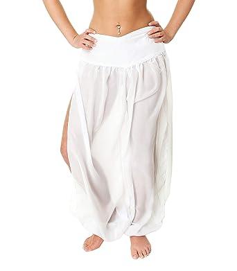 The Turkish Emporium SAROUEL PANTALON DANSE ORIENTALE bollywood DANSE DU  VENTRE Aladin Hippie Ethnique Yoga (Blanc)  Amazon.fr  Vêtements et  accessoires 77f522a30592