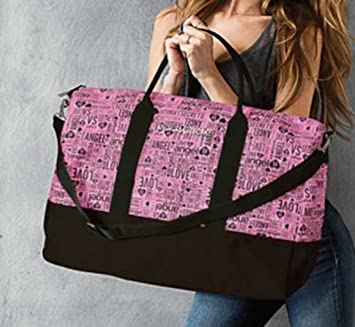 9a9f85c1fd29 Image Unavailable. Image not available for. Color  Victoria s Secret Black  Pink Monogram Getaway Weekender Bag