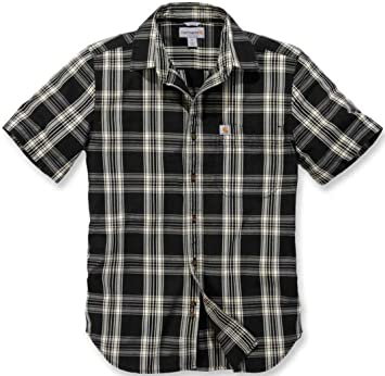 CARHARTT T-SHIRT L//S Essential Open Collar Shirt plaid black