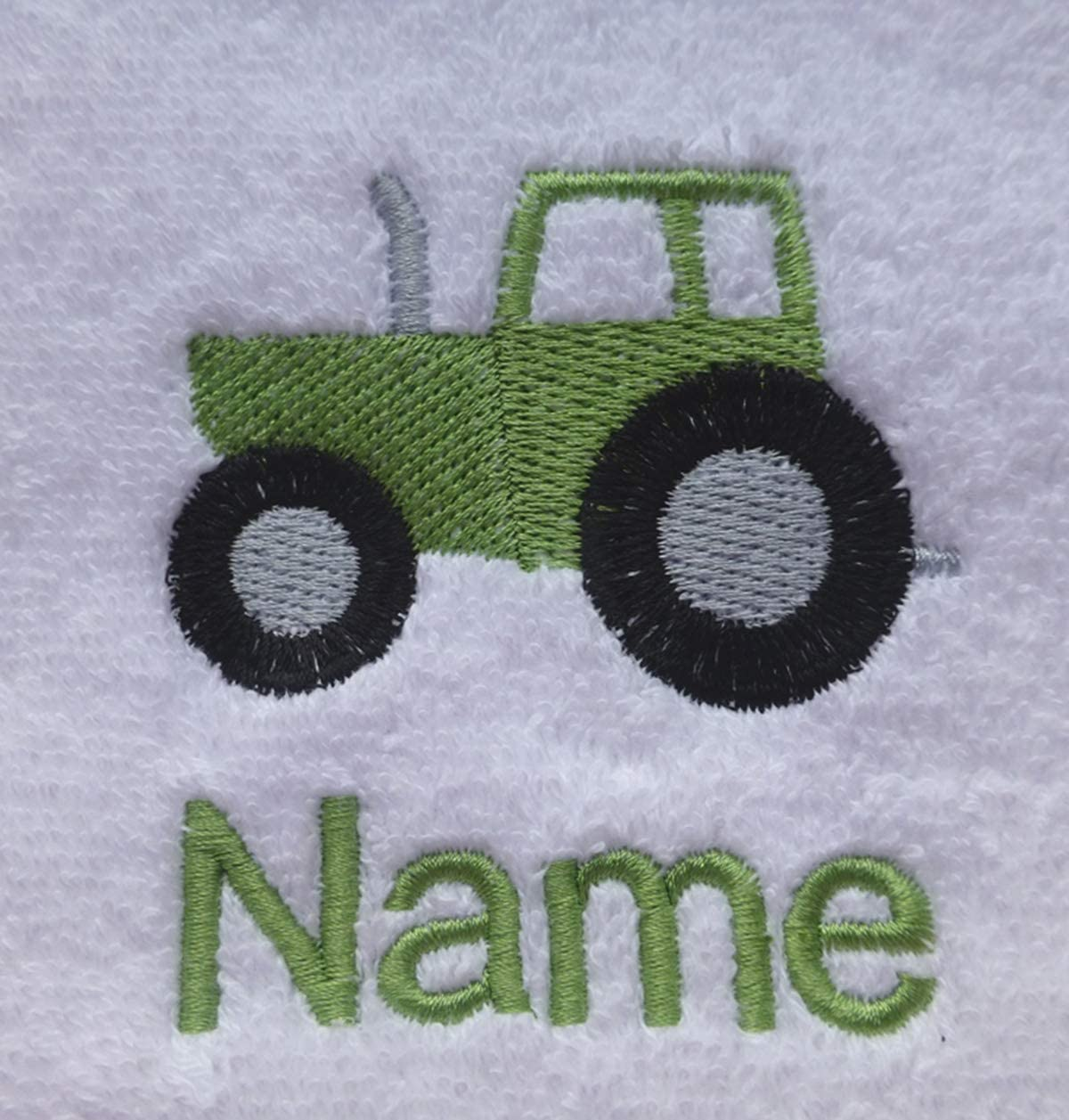 EFY White Baby Hooded Bath Robe or White Hooded Towel with a TRACTOR Logo and Name of your choice. Hooded Towel 0-5 years