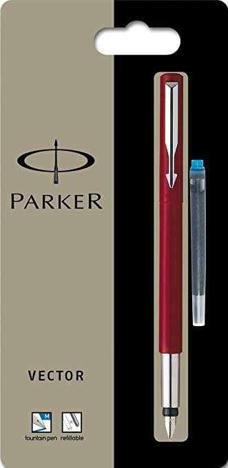 Parker  Vector Red Fountain Pen X Fine Pt New In Box Made In Usa