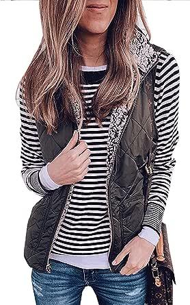 SENSERISE Womens Warm Sherpa Fleece Zip Up Reversible Vest Sleeveless Lightweight Jacket Outwear with Pockets