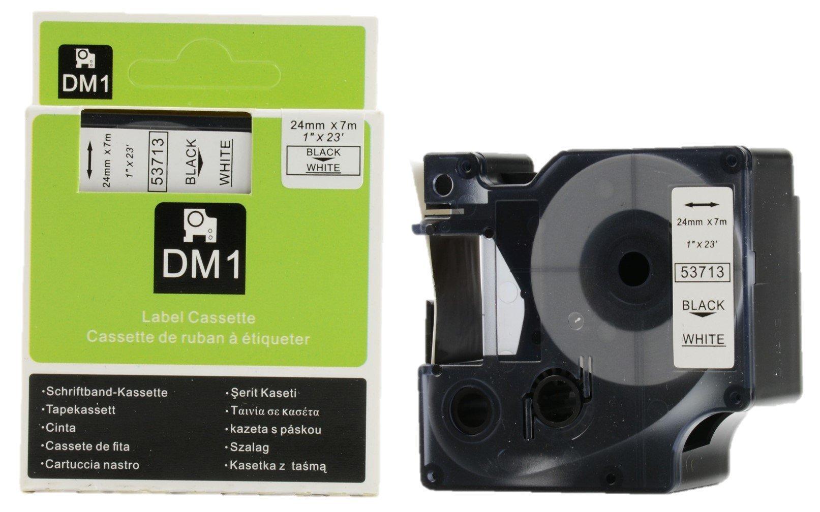 DYMO Authentic Standard D1 53713 Labeling Tape (Black Print on White Tape, 1'' W x 23' L, 1 Cartridge)