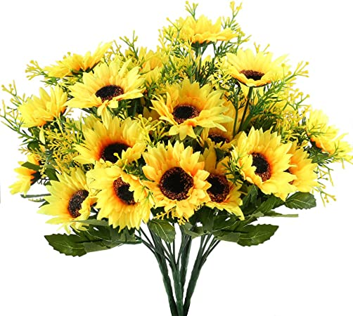 Fiori Gialli Per Matrimonio.Nahuaa 4 Pz Fiori Artificiali Esterni Gialli Girasoli Bouquet