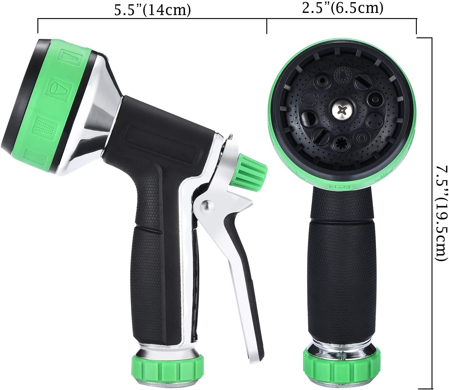 Garden Hose Nozzle| Aluminum Alloy 10 Sprayers Patterns Water Hose Spray Nozzle|Suitable For Watering Equipment, Cleaning, Car washing And Showering Pets: Home Improvement
