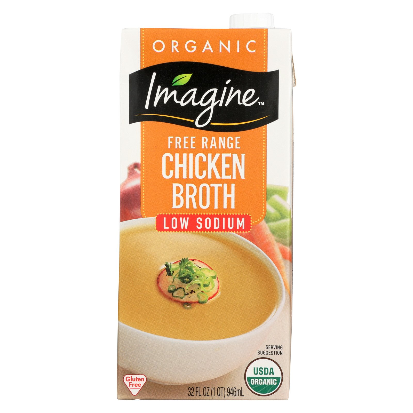 Imagine Foods Chicken Broth - Low Sodium - Case of 12 - 32 Fl oz.