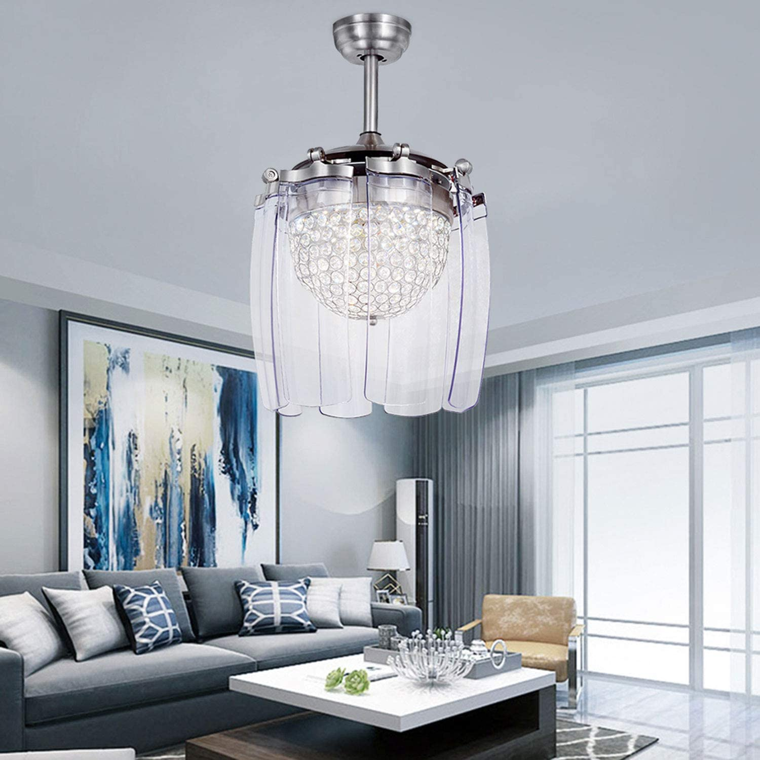 Tropicalfan Crystal Retractable Ceiling Fan With Remote Control