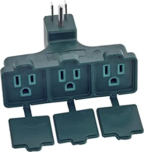 Katzco 3 Way Outlet Wall Tap - Right Angle Shaped Triple Prong Wall Splitter Adapter for Behind Furniture - Multi Plugin Locations on the Bottom - Green Color - UL Listed