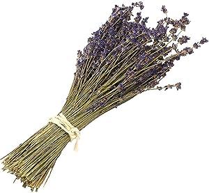 Natural Dried Lavender Bundles - Freshly Harvested Lavender Bunch Royal Velvet Decorative Flowers Bouquet for Wedding DIY Home Party (Lavender-120g)