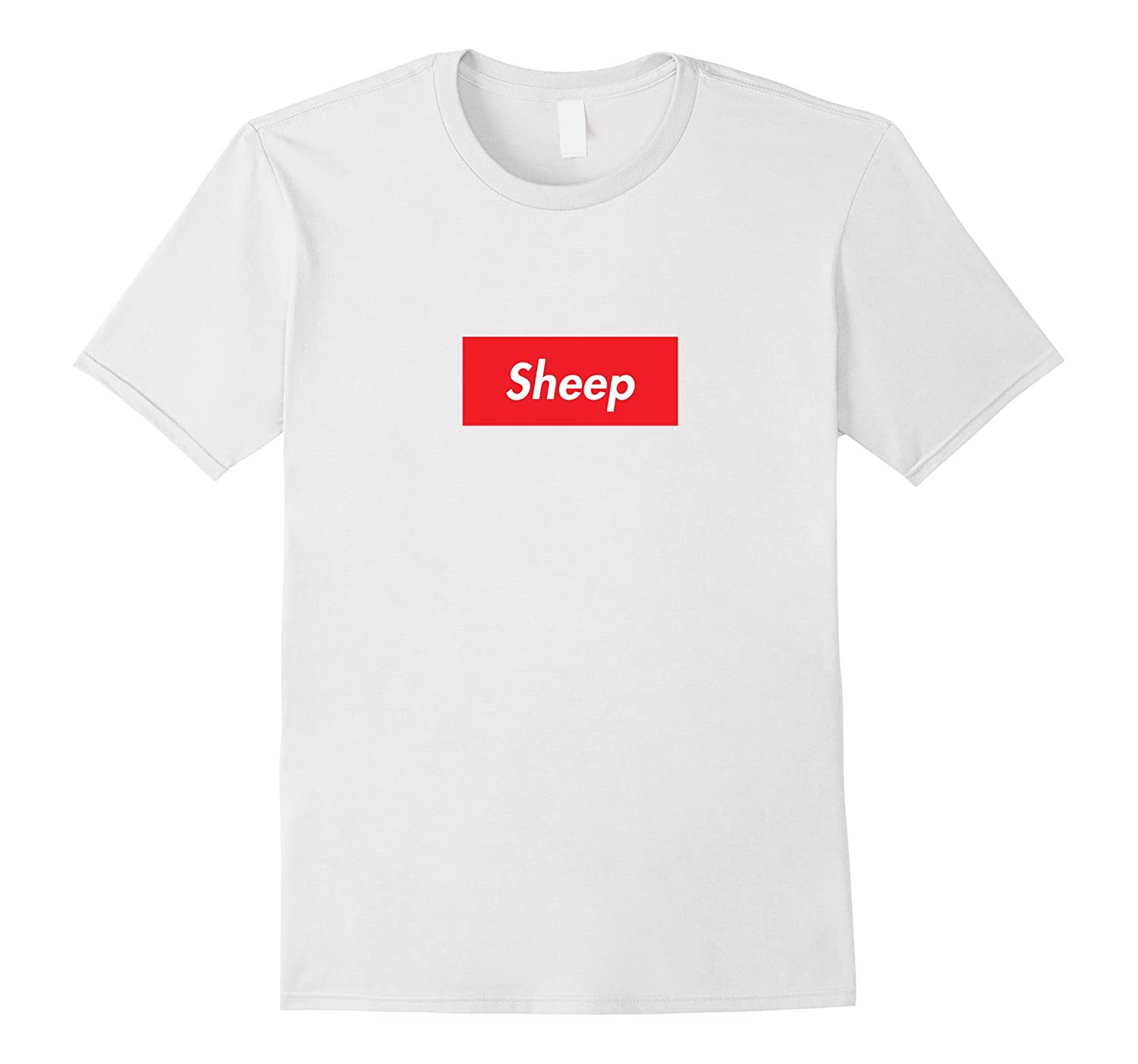 Mens Official Sheep T-Shirt - Red Box White Letters - Men's White-T-Shirt