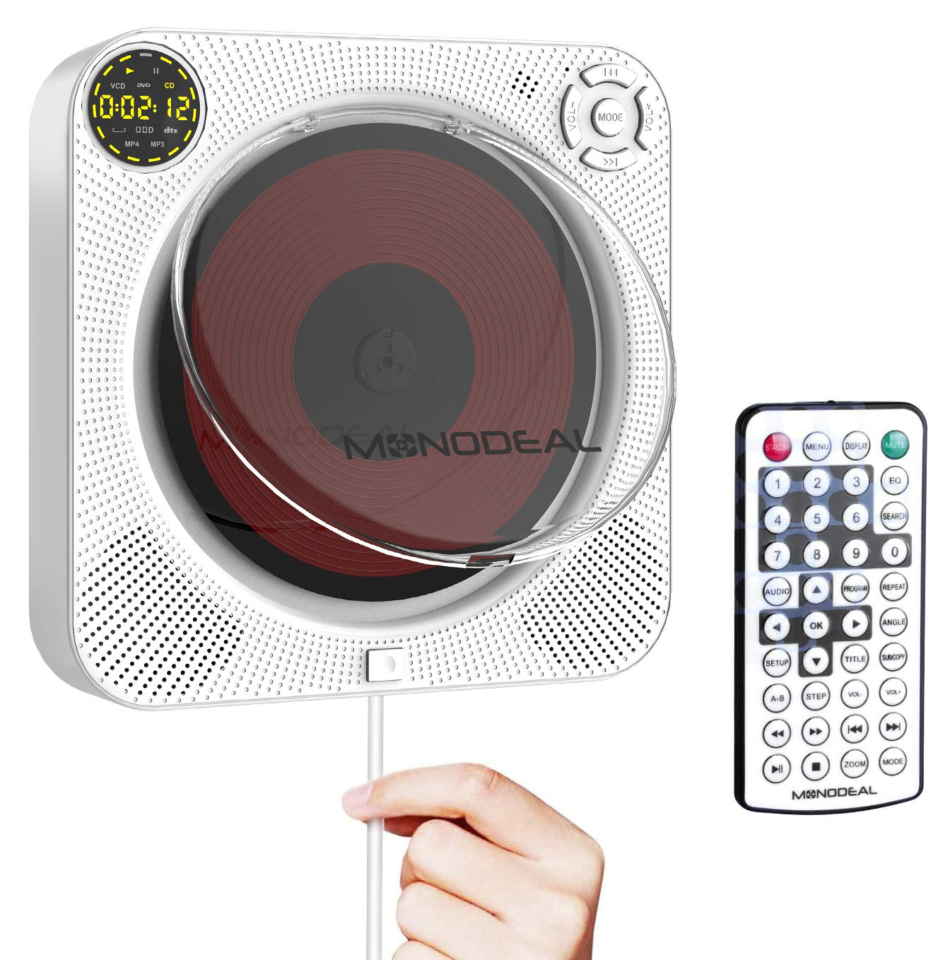 CD DVD Player with Bluetooth, MONODEAL Portable Rechargeable CD DVD Player with Speaker, Wall CD DVD Player with Remote Control and Dust Cover, Also Support Playing DVD, VCD Discs