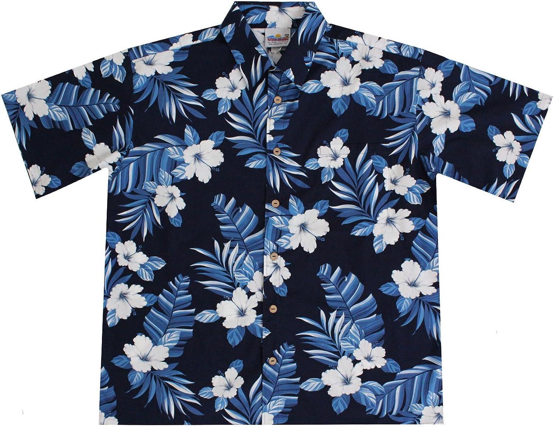 Amazon.com: Wave Shoppe Men's Navy Blue Hawaiian Shirts with ...