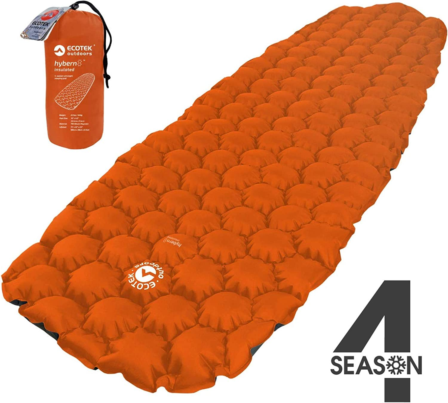 ECOTEK Outdoors Insulated Hybern8 4 Season Ultralight Inflatable Sleeping Pad