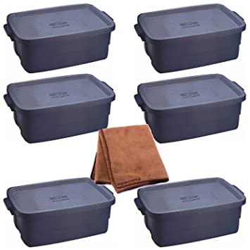 Rubbermaid 2214 10-Gallon Roughneck Storage Box Dark Indigo Metallic 6-Pack & Amazon.com: Rubbermaid 2214 10-Gallon Roughneck Storage Box Dark ...