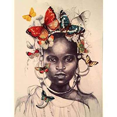 WYBFLF Classic Jigsaw Puzzle 1000 Pieces Wooden Adult Children Puzzle Wooden Jigsaw Butterfly Headdress African Little Girl Modern Home Decoration Intellectual Game Wall Art: Toys & Games
