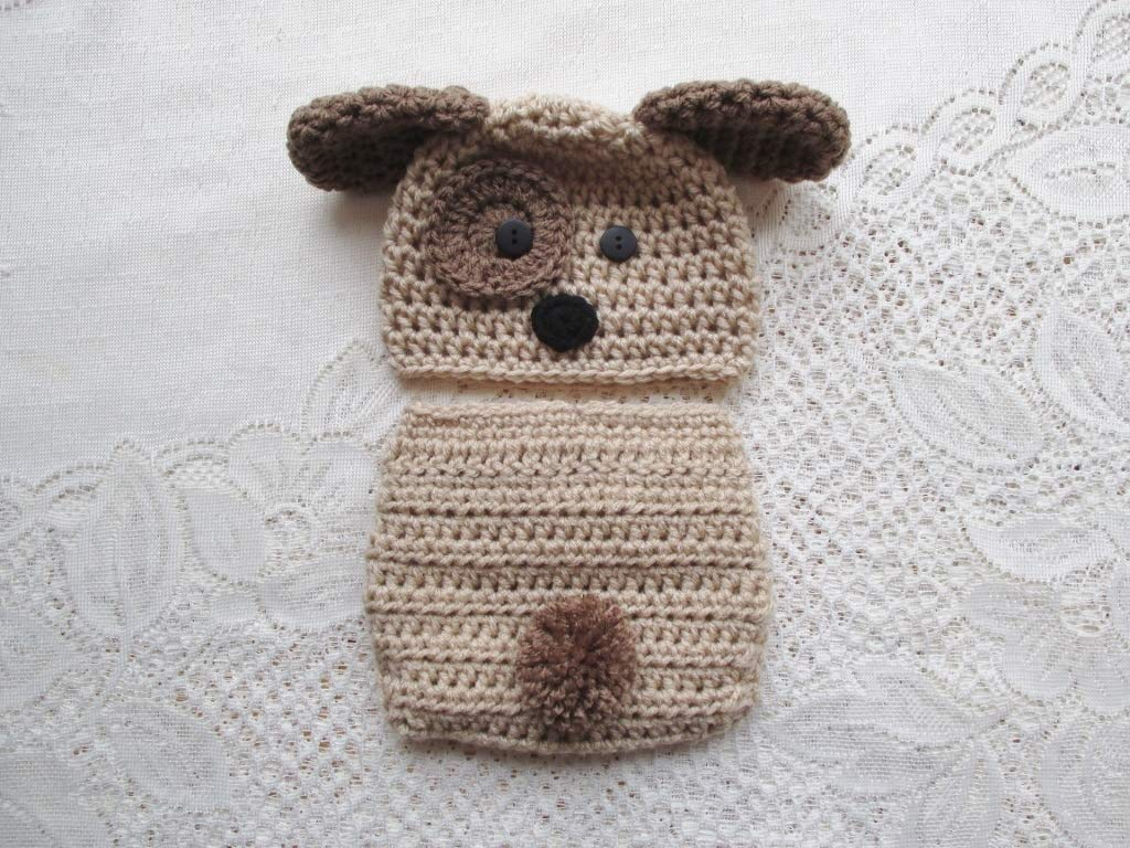 Amazoncom Crochet Baby Puppy Hat And Diaper Cover Set Baby Photo