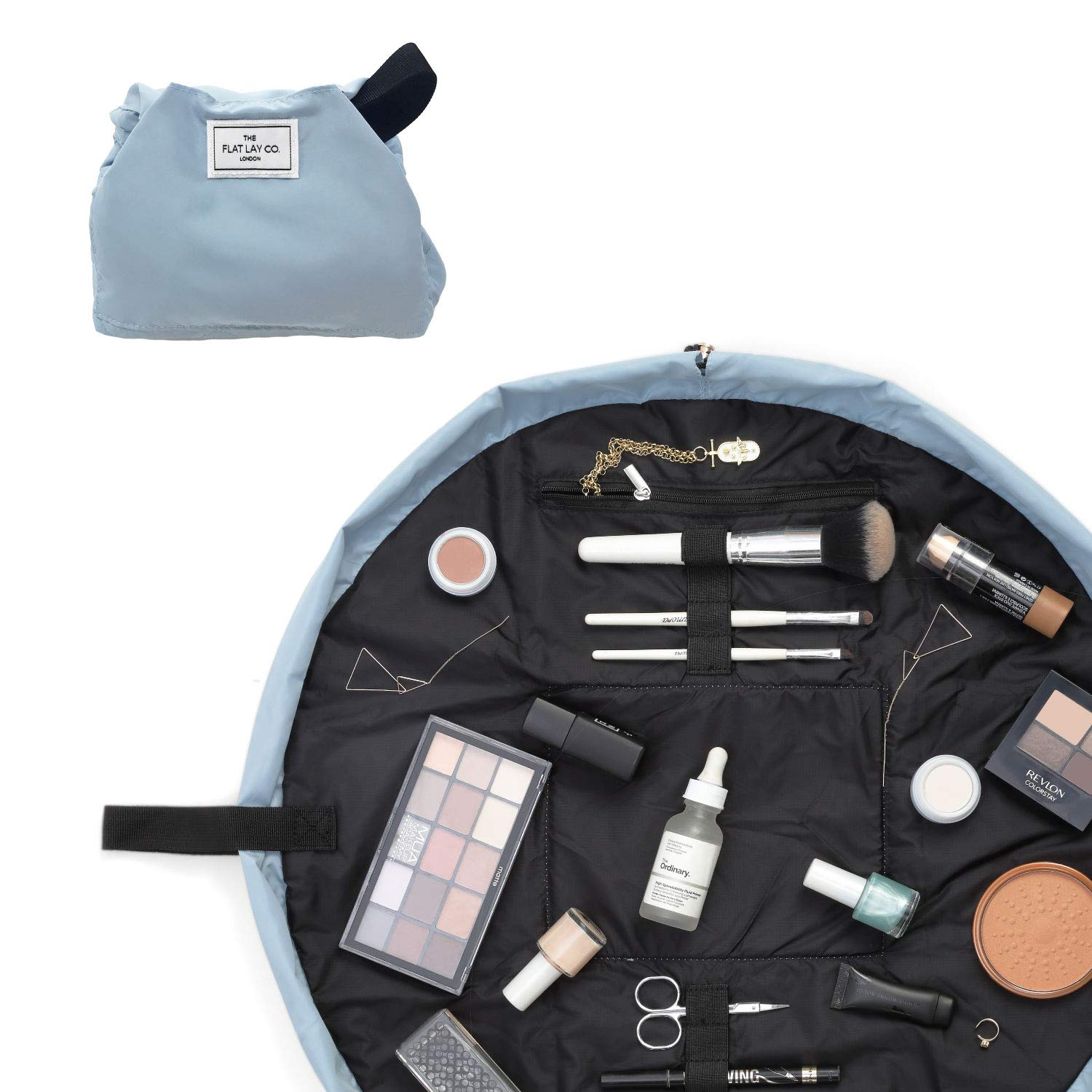 94d0a0bfaea5 The Flat Lay Co. Make Up Bag | Lay Flat Travel Cosmetic Toiletry Case |  Contents not included (Everything | 50cm, Haze Blue)