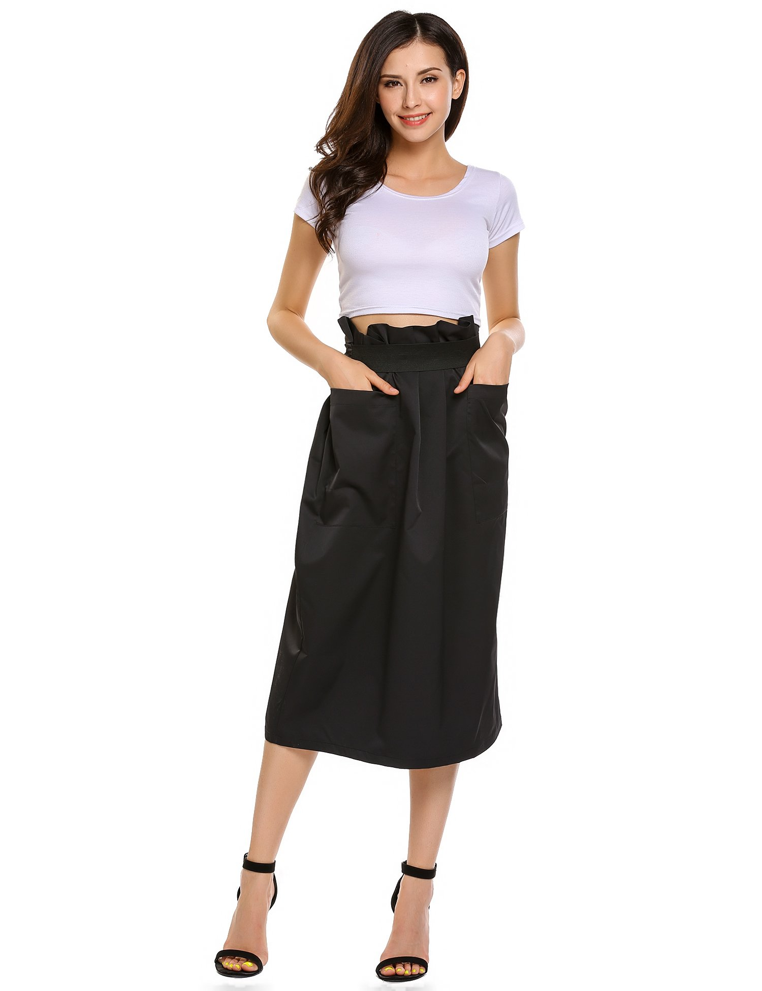 Women Casual High Waisted African A Line Maxi Long Skirt Black Small by Zeagoo (Image #2)