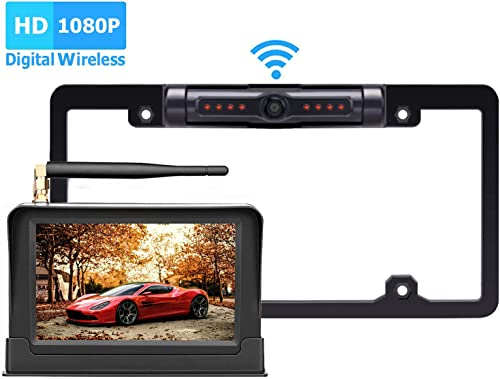 Yakry HD 1080P Digital Wireless Backup Camera System Kit For Pickups,Trucks,Motorhomes,Campers,RVs 5 Monitor Rear Front View Reverse Continuous Use High-Speed Observation System Guide Lines ON OFF