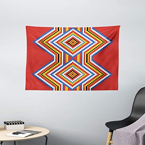 Amazon Com Ambesonne Native American Tapestry Wall Decor Traditional Native American Style Aztec Mosaic Pattern Ethnic Image Print Bedroom Living Room Dorm Art Wall Hanging 60 X 40 Red Blue White Home