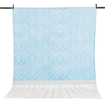 Allenjoy 5x7FT Polyester Photography Backdrops blue damask wood blue Infant Background for Photo Studio Shooting Baby