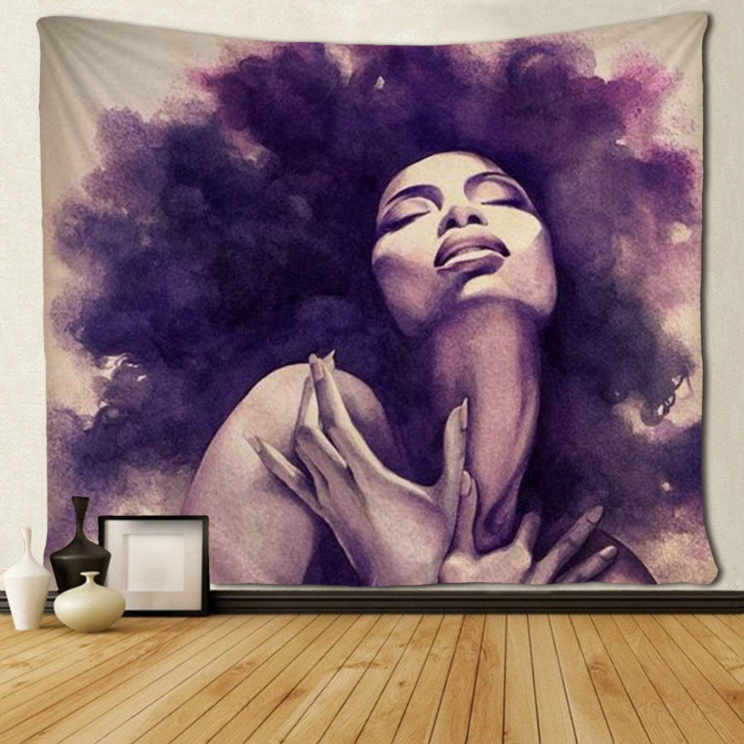 """SARA NELL Tapestry African American Sexy Women Lady Tapestries Wall Art Hippie Bedroom Living Room Dorm Wall Hanging Throw Tablecloth Bedspread(50""""×60"""""""