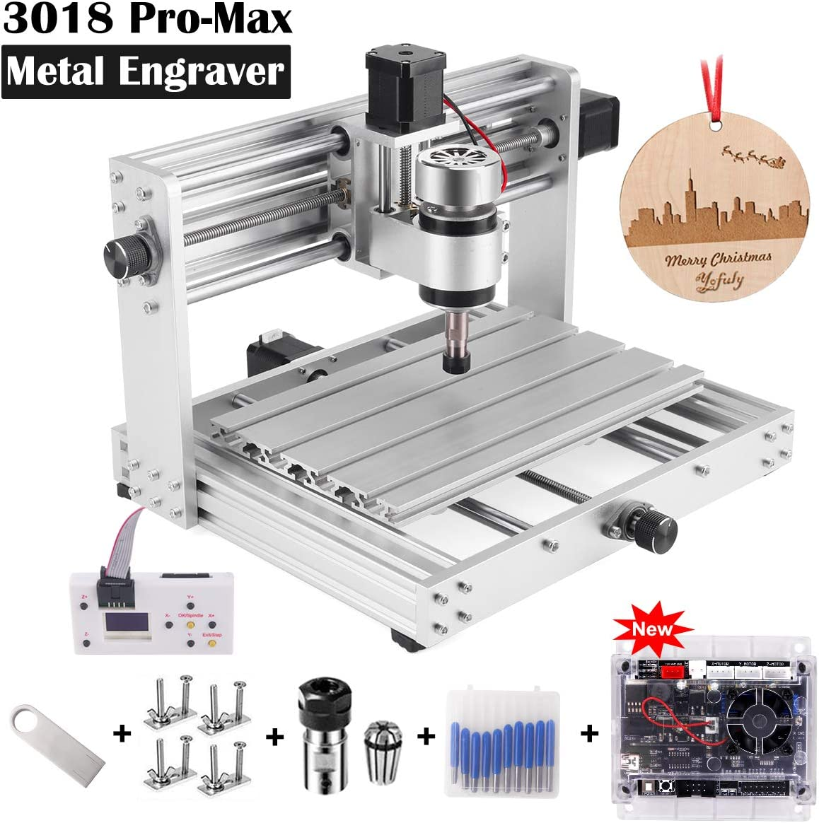 CNC 3018Pro-MAX Metal Router Kit GRBL Control with 200W Spindle, 3 Axis PCB Wood Carving Milling Engraving Machine with Offline Controller, DIY Wood Router Support Laser Engraving