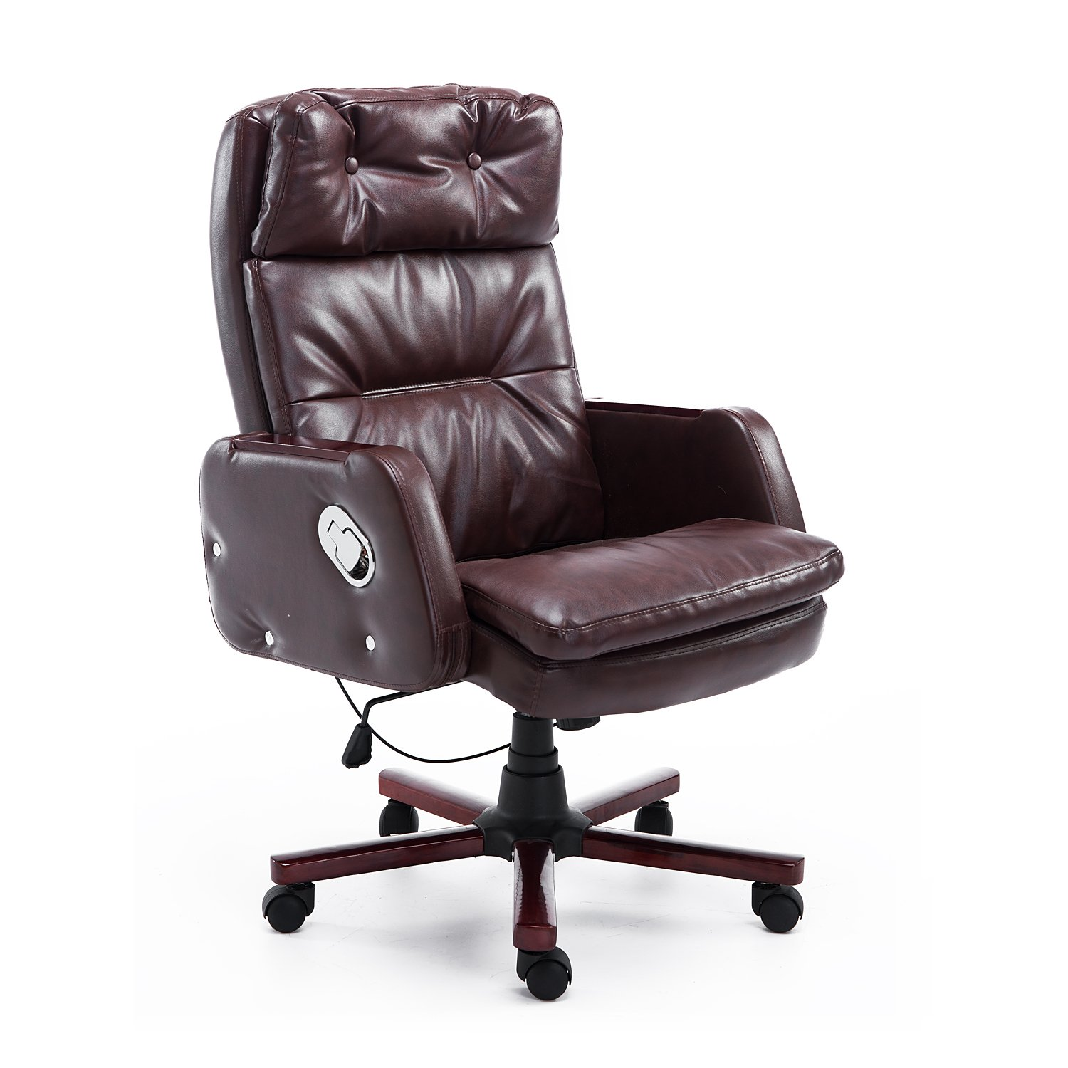 HOMCOM Faux Leather Reclining Office Chair Seat with Adjustable Backrest (Black) Aosom Canada