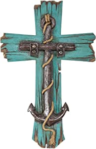 Antique Anchor Distressed Turquois 8 x 12 Resin Stone Wall Cross