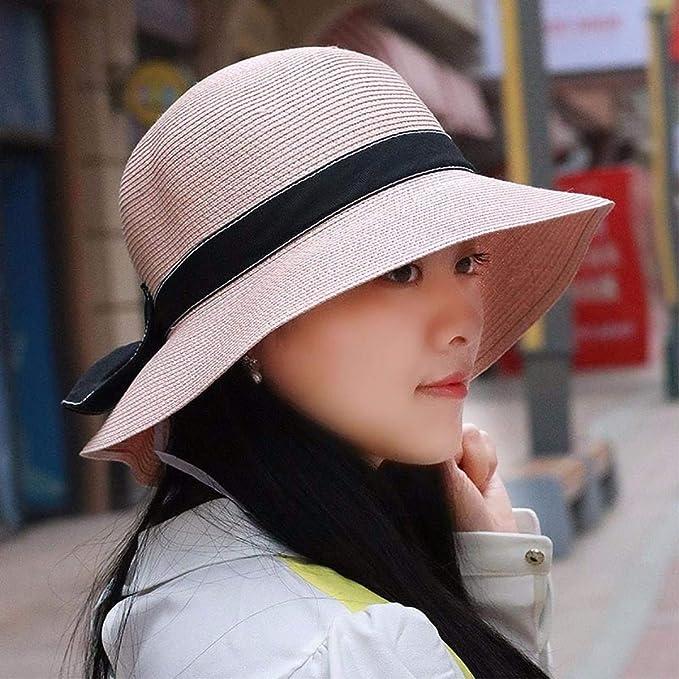 HKHJN Sombrero mujer sombrero de paja de verano mujer plegable ...