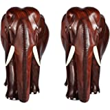 ELEPHANT - ROSEWOOD WOODEN SHOWPIECE (12 INCH PACK OF 2)