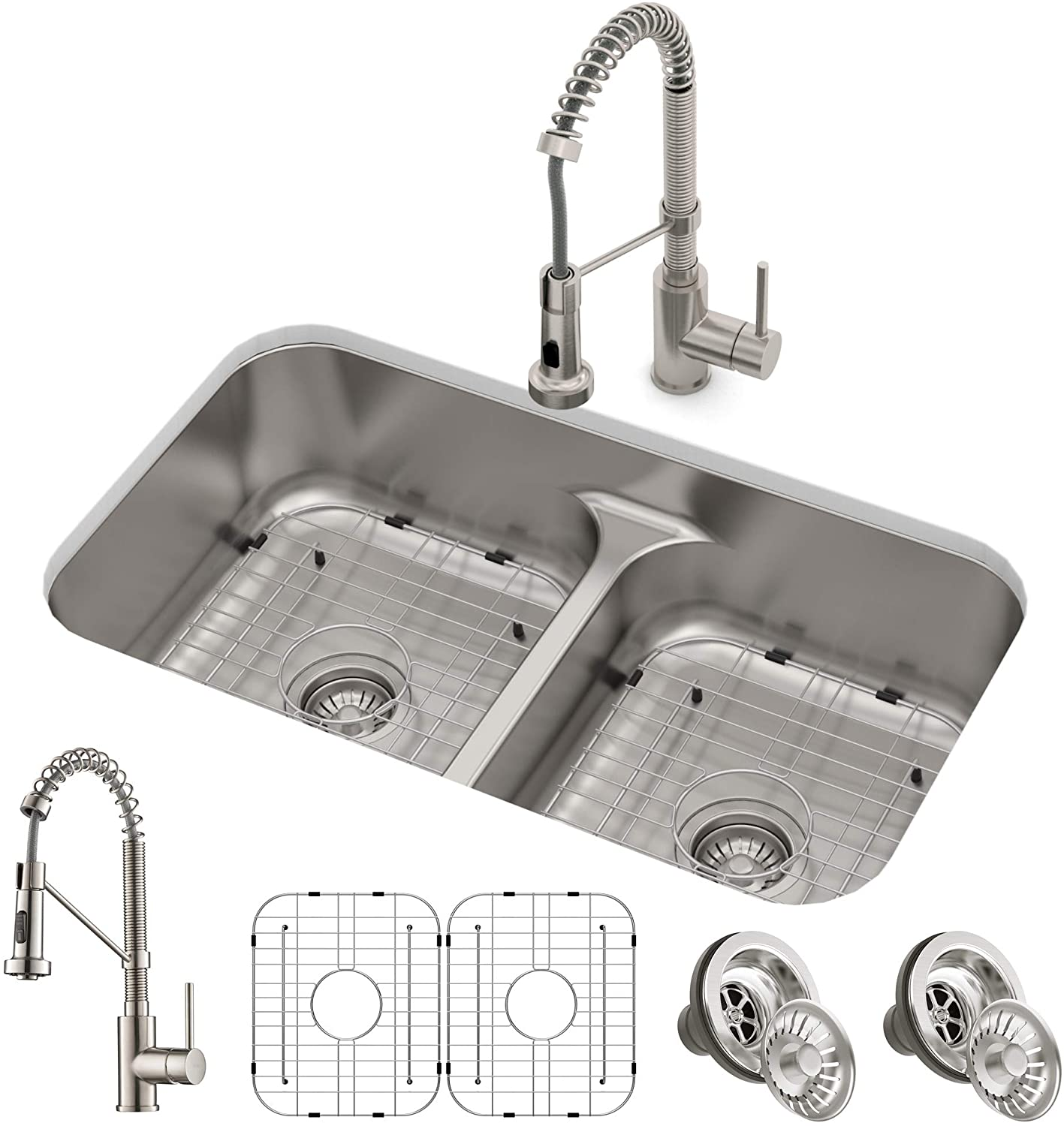 Kraus Kca 1200 Ellis Combo Set With 33 16 Gauge Undermount Sink And Bolden 18 Inch Pull Down Commercial Style Kitchen Faucet Spot Free Stainless Steel Amazon Com