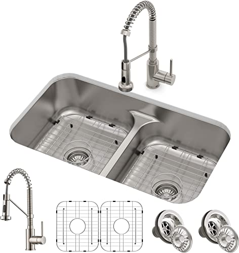 Kraus KCA-1200 Ellis Combo Set with 33 16 Gauge Undermount Sink and Bolden 18-inch Pull-Down Commercial Style Kitchen Faucet, Spot Free Stainless Steel