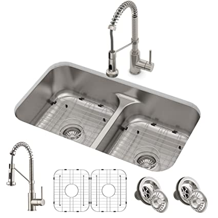 KRAUS KCA-1200 Ellis Kitchen Combo Set with 33-inch 16 Gauge ... on antique kitchen faucets, contemporary kitchen faucets, copper kitchen faucets, free-standing kitchen faucets, stainless kitchen faucets, other kitchen faucets, deck mount kitchen faucets, double kitchen faucets, designer kitchen faucets, white kitchen faucets, kitchen kitchen faucets, elkay kitchen faucets, home kitchen faucets, bathroom kitchen faucets, granite kitchen faucets, kohler kitchen faucets, flushmount kitchen faucets, black kitchen faucets, ceramic kitchen faucets, victorian kitchen faucets,