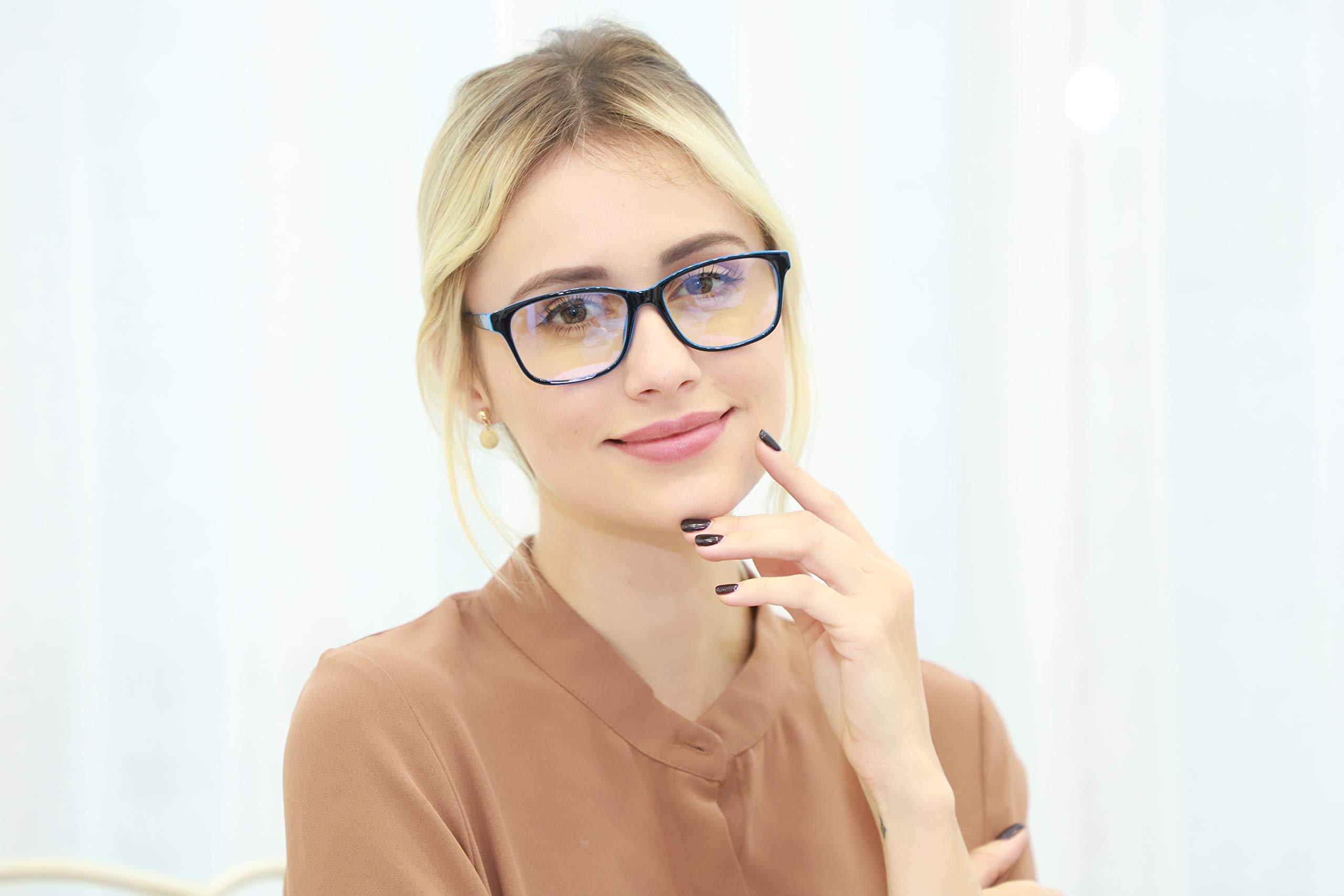 K KENZHOU Blue Light Blocking Computer Glasses 2 Pack Anti Eye Eyestrain Unisex(Men/Women) Glasses with Spring Hinges UV Protection Twilight and Blue by K KENZHOU (Image #6)